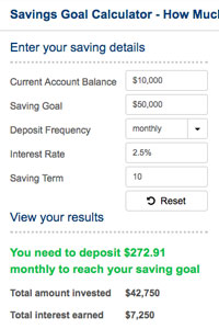 Savings Goal - How Much to Deposit?